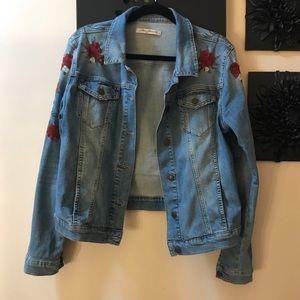 Mavi Samantha Embroidered Denim Jacket red blooms